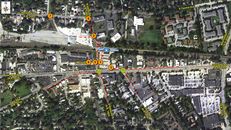Paoli Train Station Pedestrian Opportunities Map